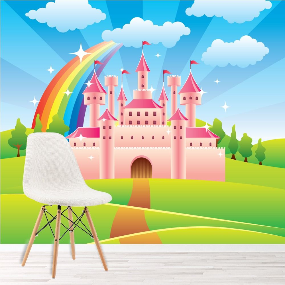 Princess Castle Wall Mural Fairytale Dragon Photo Wallpaper Girls Nursery Decor