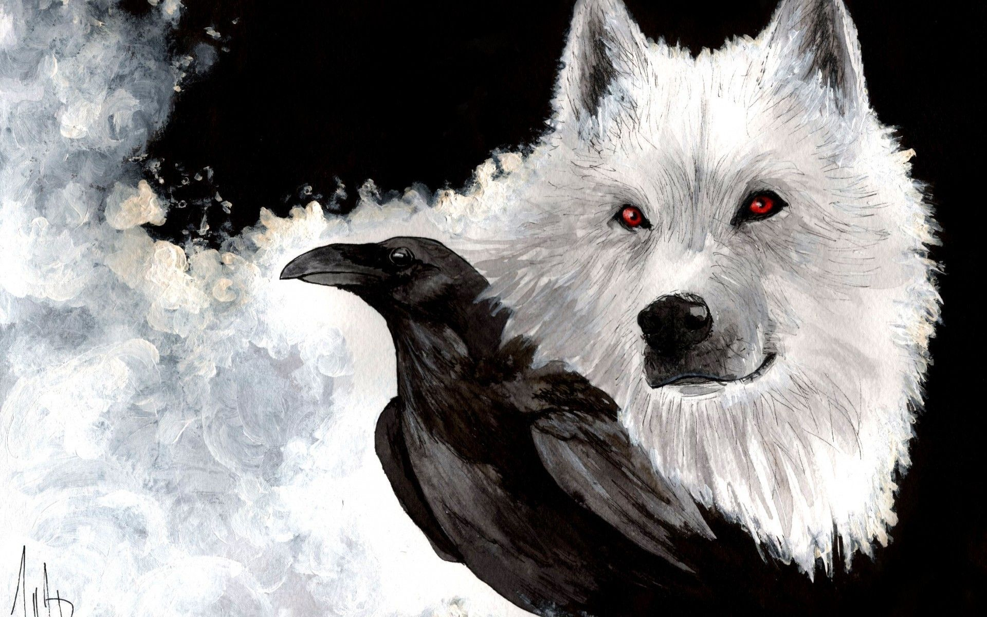 Raven And Wolf Wallpapers On Wallpaperdog