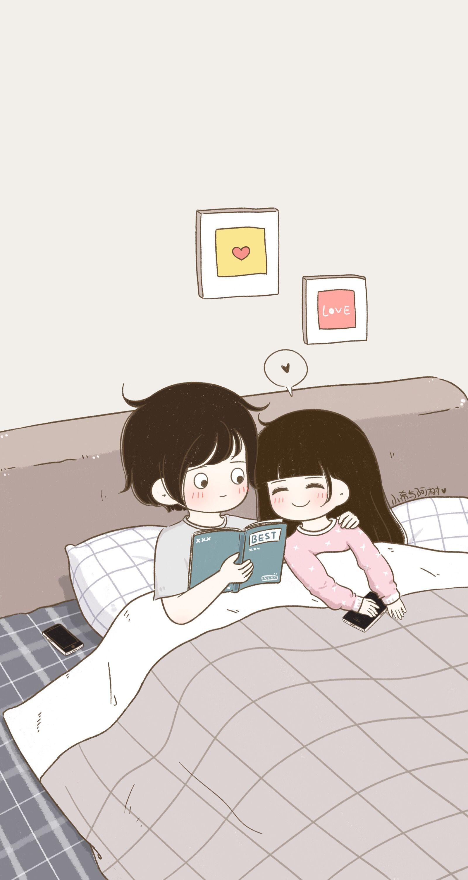 Cute Couple Goals Cartoon Wallpapers On Wallpaperdog