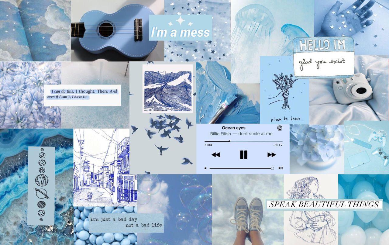 Light Blue Aesthetics Collage Wallpapers On Wallpaperdog
