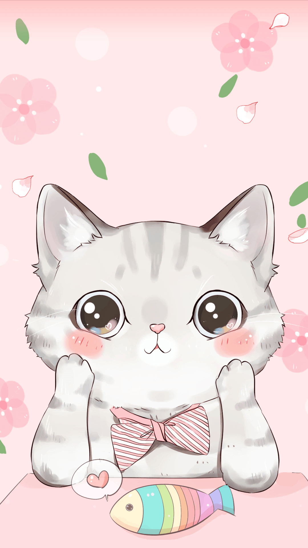 Cute Cartoon Cat Wallpapers On Wallpaperdog