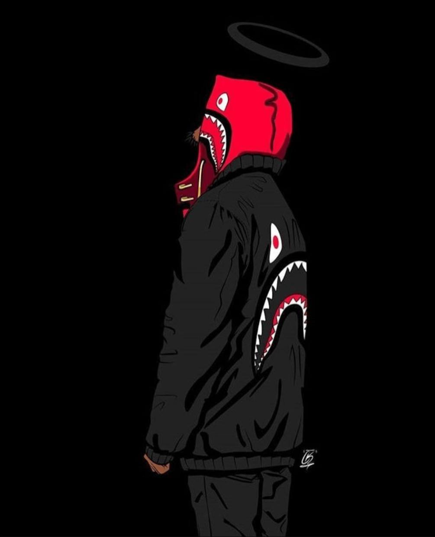 bape shark black iphone wallpapers on